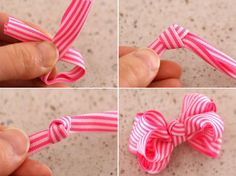 How to Make Bows for Hair Clips. You can make hair bows out of bi-colored grosgrain ribbons this time. Tutorial on how to make bows for hair clips provides you a new type.You will just need several folding of ribbons to make hair bows. How To Make A Ribbon Bow, Diy Ribbon, Ribbon Bows, Ribbon Hair, Fabric Flower Headbands, Fabric Flowers, Diy Flowers, Hair Bow Tutorial, Flower Tutorial