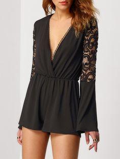 black sexy romper, lace playsuit, lace back romper - Lyfie