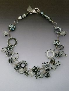 Candy Necklace: handgemachte Murano Glasperlen mit Sterling silber Komponenten - Black & White