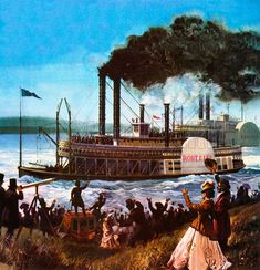 1811 – The first steamboat to sail the Mississippi River arrives in New Orleans, Louisiana. | picture, Racing steamboats on the Mississippi