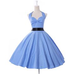 Threeseasons Women Vintage Dresses Polka Dots 50s Rockabilly Wiggle... ($36) ❤ liked on Polyvore featuring dresses, vintage, polka dot dress, blue vintage dress, blue cocktail dresses, polka dot cocktail dress and vintage rockabilly dresses