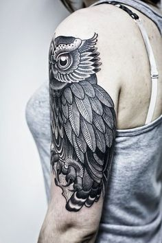 Black Owl Design Tattoos on Arms, Arms Owl Black Tattoo Designs, Designs of black Miami Ink Owl Tattoos