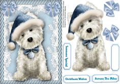 Cute Westie in a Blue Hat by Ceredwyn Macrae A lovely card with a cute Westie ready for Christmas in his blue hat has 3 greeting tags and a…