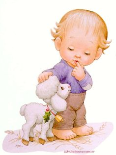 One of the littles at the Cottage brought his favorite lamb inside, to keep it warm. and where are his shoes? Clipart Baby, Vintage Cards, Vintage Postcards, Baby Pictures, Cute Pictures, Baby Painting, Decoupage Vintage, Sarah Kay, Holly Hobbie