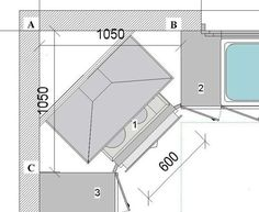 croquis de la cuisson en angle dans une cuisine id es cuisine pinterest kitchens compact. Black Bedroom Furniture Sets. Home Design Ideas