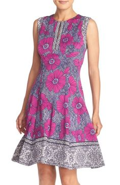 Maggy London Floral Scuba Fit & Flare Dress available at #Nordstrom