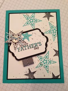 Stampin' Up! Masculine Card by INKin' All Night!  - Happy Father's Day.  Maybe make Dad a card next year.