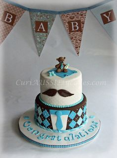 Mustache theme baby shower cake - by shags @ CakesDecor.com - cake decorating website