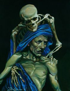 David Van Gough's - Momento Mori - Signed Print - Skeleton - Death Shroud - davidgoughart.com