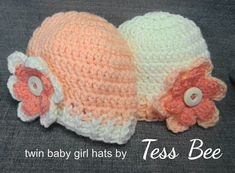 Baby Girl Twin Hats Flower Hats Baby Girl Beanies 2 Baby | Etsy Crochet Buttons, Crochet Baby Hats, Flower Hats, Baby Flower, Baby Girl Beanies, Cream Hats, Twin Baby Girls, Cute Twins, How To Have Twins