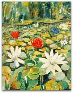 """Jardim botânico, Guignard (1937) As paisagens realizadas na década de 1940, que se distinguem pela horizontalidade da composição, pela densidade da matéria pictórica e por um uso mais naturalista das cores (e que em geral trazem como assunto locais """"identificáveis"""", como o Jardim Botânico, a Serra do Mar ou o Parque Municipal de Belo Horizonte). http://sergiozeiger.tumblr.com/…/alberto-da-veiga-guignard-…"""