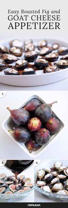 Appetizer That'll Make Dinner Party Guests Swoon Black Mission figs, balsamic vinegar, and fresh goat cheese star in this appetizer that only takes 20 minutes to make!The Dinner The Dinner may refer to: Goat Cheese Recipes, Fig Recipes, Cooking Recipes, Tapas Recipes, Crab Recipes, Party Recipes, Vegan Cheese, Snacks Für Party, Appetizers For Party