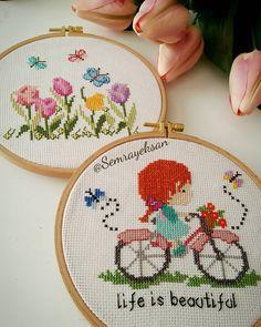 Cross Stitch Fairy, Cross Stitch Love, Cross Stitch Designs, Cross Stitch Patterns, Embroidery Flowers Pattern, Embroidery Hoop Art, Flower Patterns, Cross Stitch Embroidery, Coffee Flower