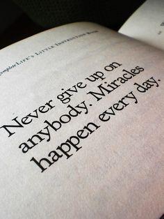 '''Nunca desista de ninguém. Milagres acontecem todos os dias.'' -Jackson Brown #Milagres