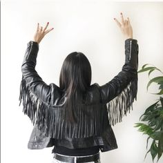 """Fringe Vegan Leather Jacket Get COACHELLA ready!!!!.  Nail the edgy boho look with this stunning black faux leather jacket w/ fringe from Style Mafia - one of my favorite emerging designers based out of Miami.  So on trend - style with a white tee, skinny boyfriend jeans, and heels.  Brand new with tags!  MSRP $110.  Shoulder to shoulder - 15.5-16"""".  Arm width - 5.75"""" (measured one inch away from bottom of armpit sleeve and up). Style Mafia Jackets & Coats"""