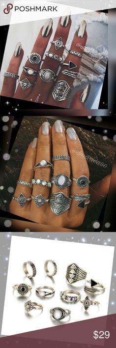 10 pc set Bohemian style silver knuckle rings Brand New, 10 beautiful Boho silver knuckle rings , some with carvings, others with gemstones, Crystal, Opal  These are a gorgeous set, I love this look .sizes are 7 and under all different size to get that trendy new look in pictures or wear however you chose .they are absolutely awesome and very comfortable. Boutique 24 Jewelry
