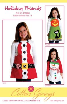 Holiday Friends Child's Aprons Pattern: Bring some festivity to the holidays with one of these fun aprons designed by Cotton Ginnys! These are easy and enjoyable to make as well as great gifts! Pattern includes Santa, snowman and pumpkin. Sizes 3 thru Christmas Aprons, Christmas Sewing, Xmas, Christmas Snowman, Craft Patterns, Sewing Patterns, Paper Patterns, Baby Patterns, Quilt Patterns