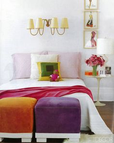 TRY: A pair of non-matching benches at the foot of the bed like REED KRAKOFF, whose home was featured in ELLE DECOR in November 2000.
