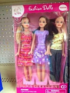 We are Kmart Just Kidz $5 fashion doll 3-pack in Caucasian. Unlike our cousin who comes in the car, we appear to have normal calves.