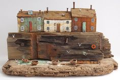Harbour cottages are like a mini stage set by artist Kristy Elson - for sale on Etsy $485