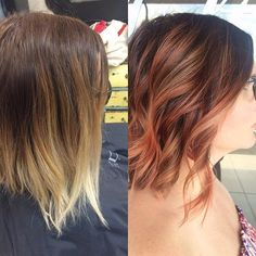 How fun is this change up. Her previous color was a silver on the lightened hair that was faded back to blonde. Went a different route today adding a richer root color and painted in a rose gold blonde and the #pravana too cute coral.  #rootsmudge #embeemeche #coral #copper #rosegold #pastels #kaaral #flatironcurls #beforeandafter #behindthechair #hairpainting #olaplex #emilyandersonstyling