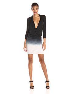 Young Fabulous & Broke Women's Getty Ombre Long Sleeve Surplus Dress  Surplice neckline Deep v neck Deep v neck Long sleeve mini  http://www.artydress.com/young-fabulous-broke-womens-getty-ombre-long-sleeve-surplus-dress/