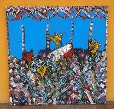 Tablou abstract acril pe panza, 100x100