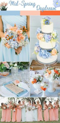 Get Sprung On These Spring Wedding Color Schemes We'd like to think that if Cinderella existed in the century, she would choose this color scheme to marry Prince Charming. Summer Wedding Colors, Orange Wedding, Bright Wedding Colors, Spring Wedding Themes, Wedding Coral, Spring Theme, Spring Weddings, Bright Colors, Perfect Wedding