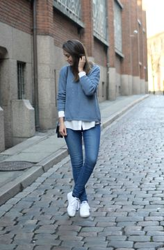 Everyday OOTD - blue jeans, white Adidas sneaks, white shirt and blue sweater. Easy peasy, classy, effortless. --> Click through to see more images!