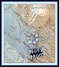 Navy Mom US Navy Pride  necklace by Son and Sea FREE by sonandsea, $25.00