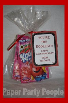 "Valentine's Day Class Party ""You're the Koolest"" Printable DIY Treat/Bag Tag, Red and Black"