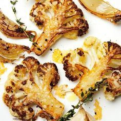 """Try this with cauliflower """"steak"""" slices. Recipe and video, Bon Appetit. August is cauliflower season though available all the time. Meaty, caramelized cauliflower florets and some just-this-side-of-burnt onions all tossed with grated Parmigiano. Vegetable Side Dishes, Vegetable Recipes, Vegetarian Recipes, Cooking Recipes, Healthy Recipes, Cooking Tips, Healthy Snacks, Vegetarian Lifestyle, Veggie Side"""