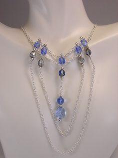 Beadwork Necklace, Blue Necklace, Elegant Jewelry, Beaded Necklace