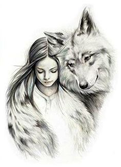 """Counted Cross Stitch Pattern """"Girl with a wolf"""" - Counted Cross Stitch Pattern . - Counted Cross Stitch Pattern """"Girl with a wolf"""" – Counted Cross Stitch Pattern """"Girl with - Artwork Lobo, Wolf Artwork, Pencil Art Drawings, Art Drawings Sketches, Animal Drawings, Cool Wolf Drawings, Wolf Girl Tattoos, Wolf Sketch, Wolves And Women"""