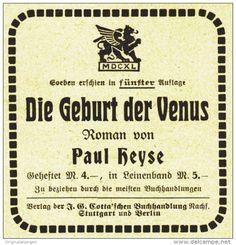 Original-Werbung/ Anzeige 1910 - COTTA'SCHE BUCHHANDLUNG / PAUL HEYSE: DIE…
