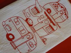 etsy retro camper towel..love the red print on white idea