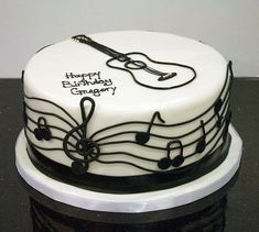 black white guitar cake A black and white musical/guitar cake for a musician's birthday. Guitar Birthday Cakes, Guitar Cake, Cake Birthday, Birthday Ideas, Happy Birthday, Birthday Parties, Music Themed Cakes, Music Cakes, Cake Icing