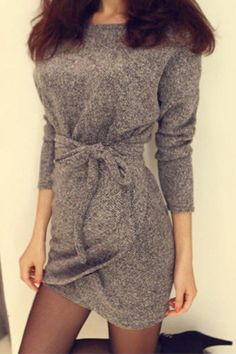 Grey Round Neck Long Sleeve Dress