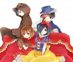 Boy : Ayato Kirishima , Ken Kaneki  Girl : Hinami , Touka Kirishima