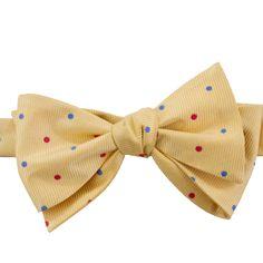 Southern Proper Yellow Dixie Dot Bow Tie