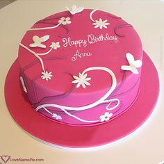 Annu Name Picture - Best Wishes Birthday Cake For Girlfriend Birthday Cake Maker, Birthday Cake Write Name, Online Birthday Cake, Birthday Cake Writing, Cake Name, Beautiful Birthday Cakes, Birthday Cake Girls, Happy Birthday Cakes, Birthday Cupcakes