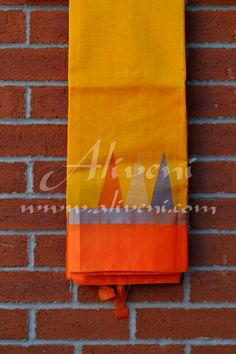 SALE Yellow Kuppadam Saree with Orange/Silver Zari Temple Border - Aliveni - 2