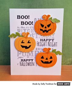 Have fun creating a spooky Halloween card with our pumpkin-themed stamps and dies