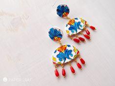 Paper earrings Talavera Esmeralda, Mexican pottery, Frida Kalo