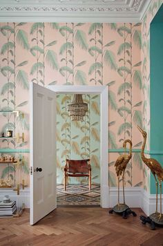 Palm Leaves by Cole & Son - Alabaster Pink and Mint - Wallpaper : Wallpaper Direct Mint Wallpaper, Palm Leaf Wallpaper, Tropical Wallpaper, Oriental Wallpaper, Funky Wallpaper, Pink Wallpaper Living Room, Cole Son, Cole And Son Wallpaper, Palm Tree Leaves