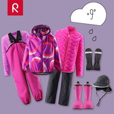 DRESS FOR THE WEATHER +9° and heavy rain. Choose a moisture wicking base layer, a warm breathable fleece jacket and match it with a pair of waterproof Reimatec® pants (or rain pants). Then jump into a pair of rubber boots and complete the outfit with a rain jacket. Accessorize with a rain hat and mittens and you're all ready for rain dancing! #reima #rainwear #kidswear http://reima.com/en