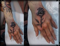 rose tattoo on a hand