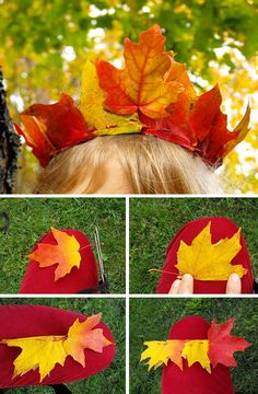 kokokoKIDS: 30 Fall Leaves Craft Ideas. So many ideas! A crown, painting, pictures.a leaf bouquet!...these are so creative!