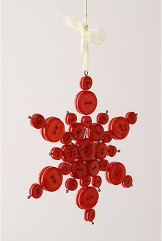 button ornament, gotta figure out how to do this! Christmas Button Crafts, Button Ornaments, Christmas Buttons, Fabric Ornaments, Christmas Ornament Crafts, Christmas Projects, Holiday Crafts, Christmas Holidays, July Crafts