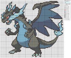 mega charizard x pixel art grid